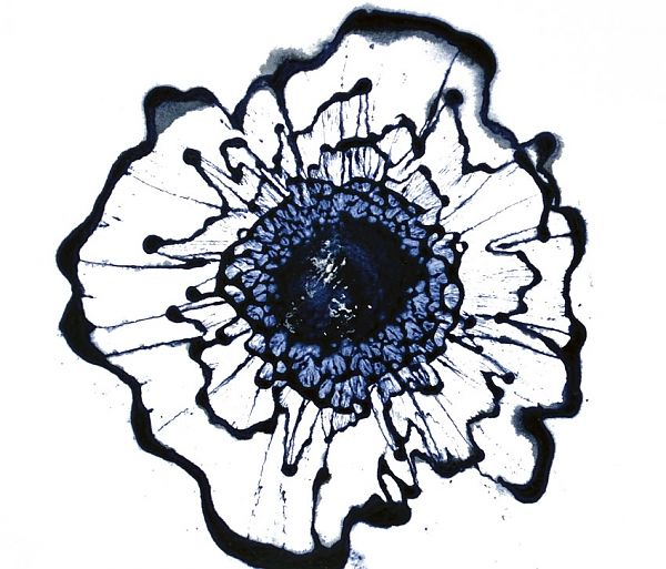 Navy Blue Wall Art modern floral art, navy blue wall decor, indigo painting, abstract