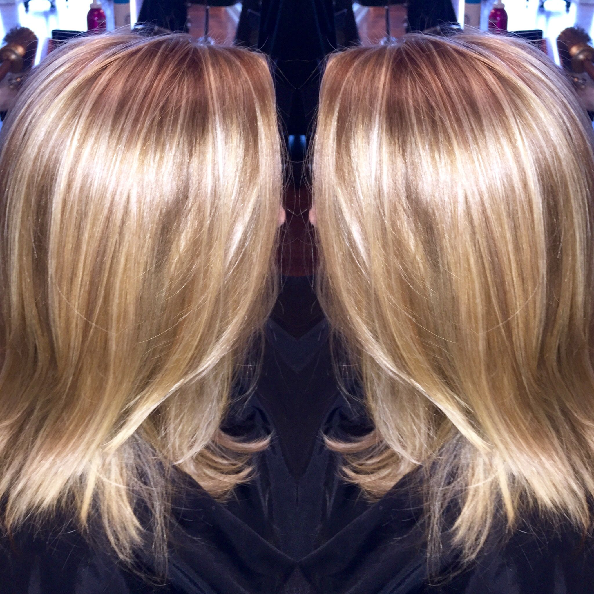 Platinum Highlight And Honey Lowlight With Long Layered Haircut By