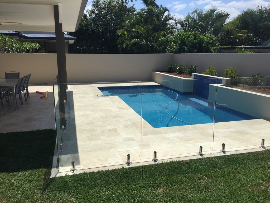 Swimming Pool With Water Feature Travertine Coping And Surround Paving Swimming Pools Brisbane Landscape Designers Landscape Design Small Pools Modern Pools