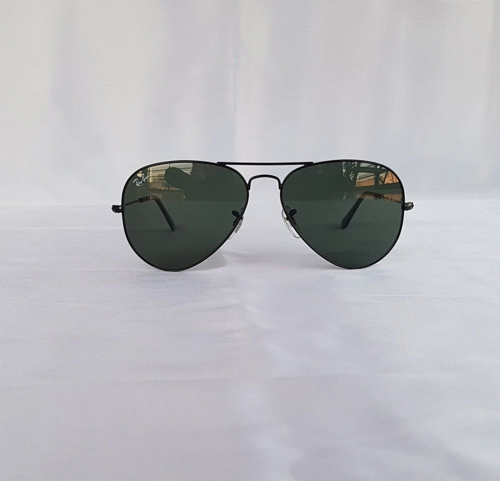 b392939102 New Authentic Ray Ban Aviator RB3025 L2823 58mm Black Frame Green Lens