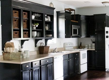 Black And White Painted Kitchen Cabinets | Black kitchen ...
