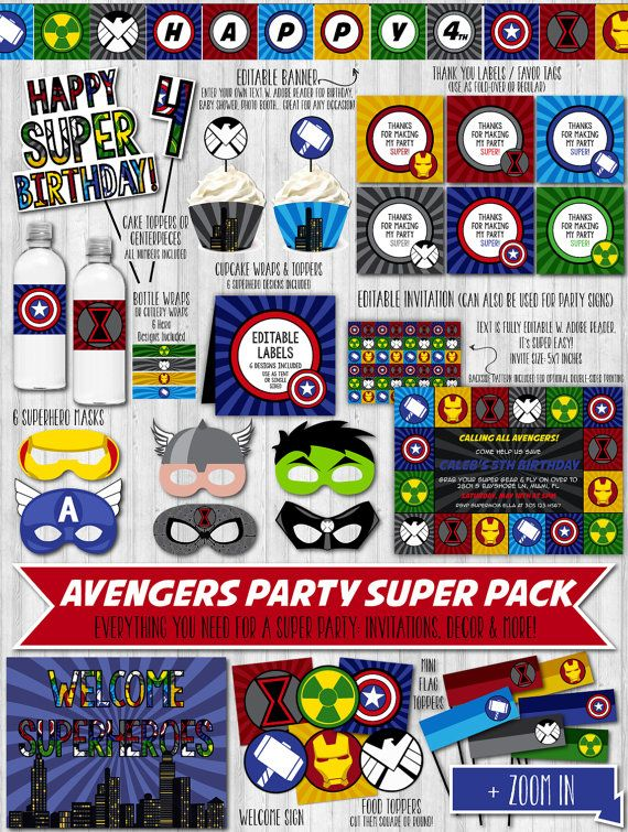 Avengers Party Printable Decor Pack | Birthdays, Superhero party and ...