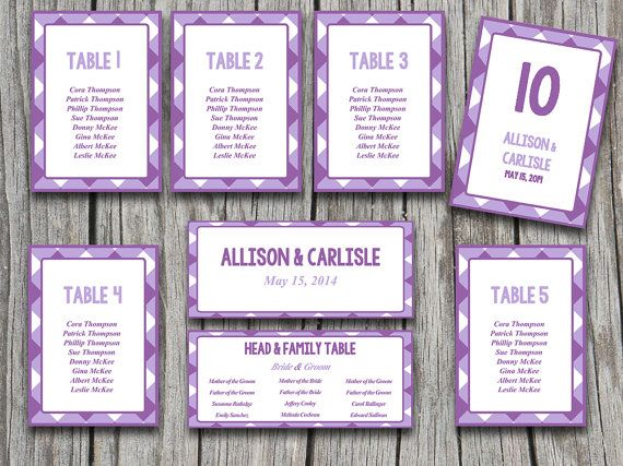 Wedding Seating Chart Template Geometric Purple Picnic Rustic - number chart template