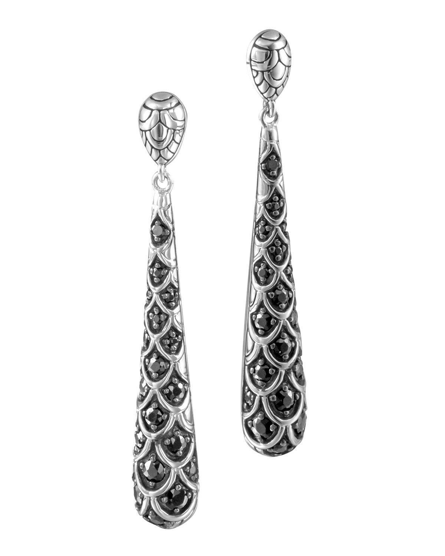 Naga Silver Lava Drop Earrings with Black Sapphire