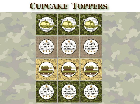 Printable Army Birthday Party CUPCAKE TOPPERS Printable Camo