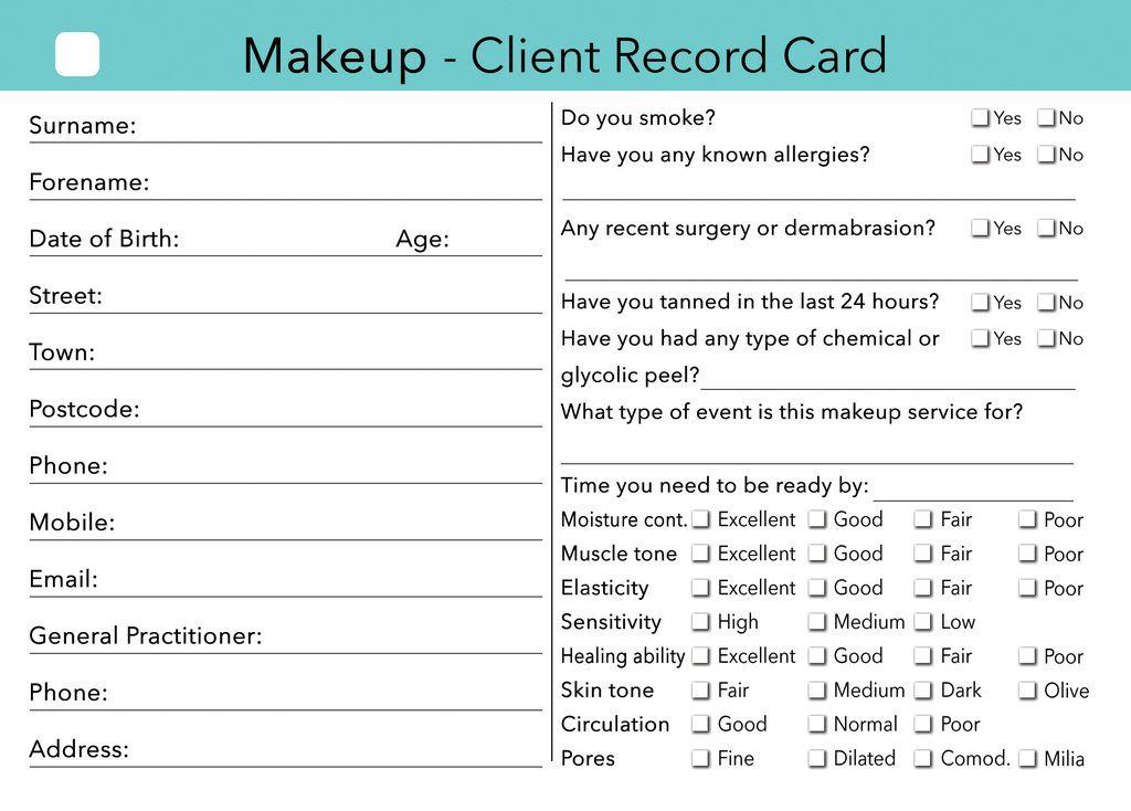 Makeup Client Card Template Saubhaya Makeup