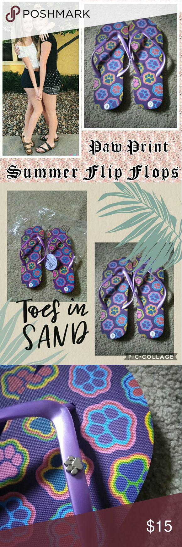 5e0fea62ef22c PAW PRINT FLIP FLOPS Brand new with tags. A vibrant purple color ...