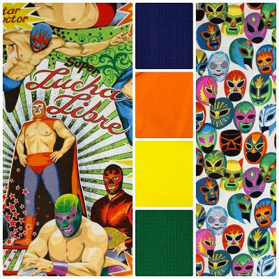 Fabric Friday - Supe Luche Libre mexican Wrestling Fabric  - Alexander Henry, Northcott and Andover