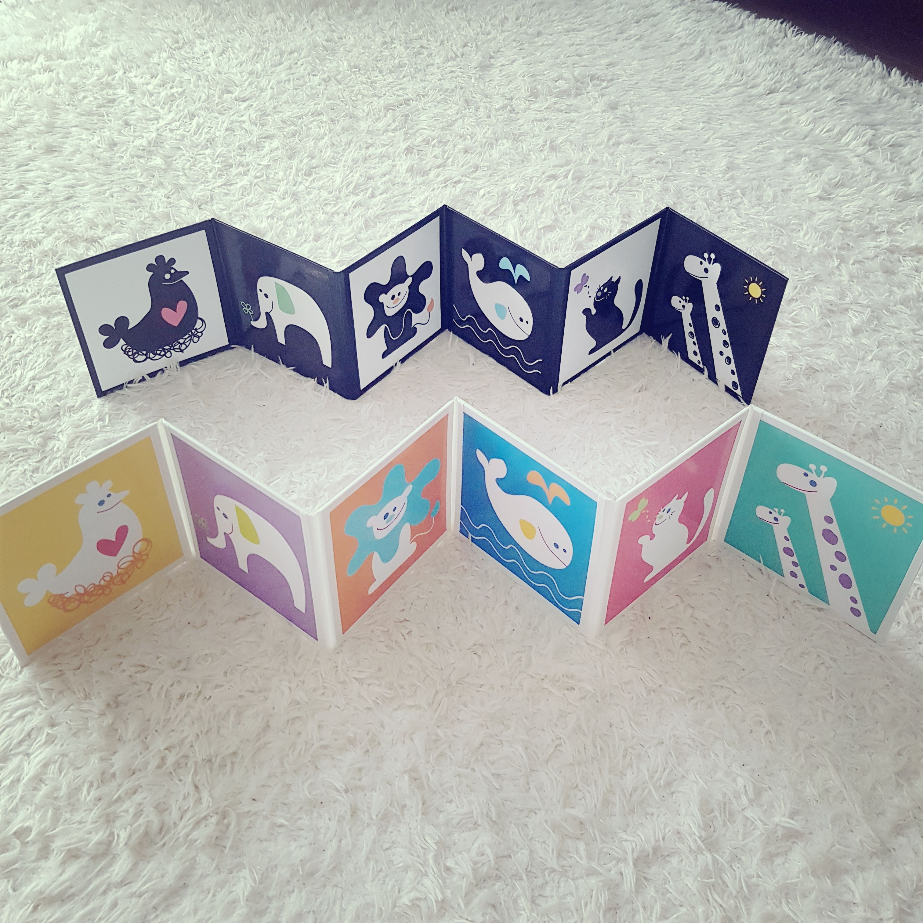 Black and white contrast cards for babies color animal