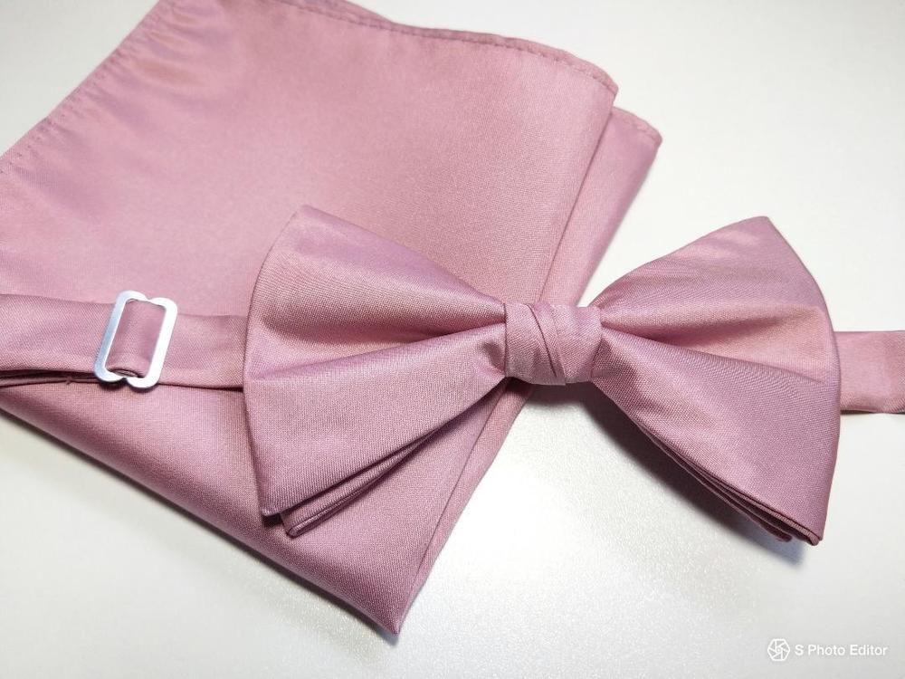 Plain Pink Satin Skinny Men/'s Tie and Pocket Square Set Wedding Prom Tie