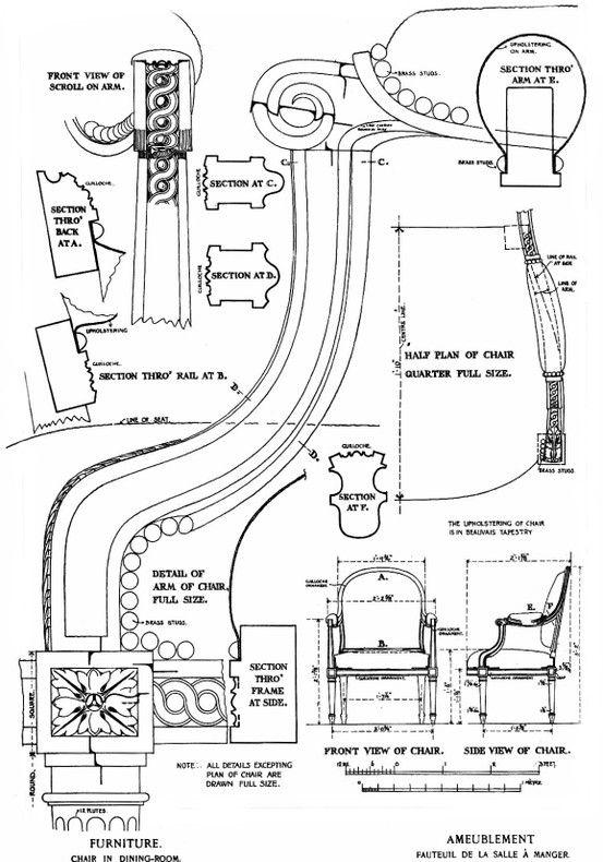 Diagram of Louis XVI armchair from the Petit Trianon