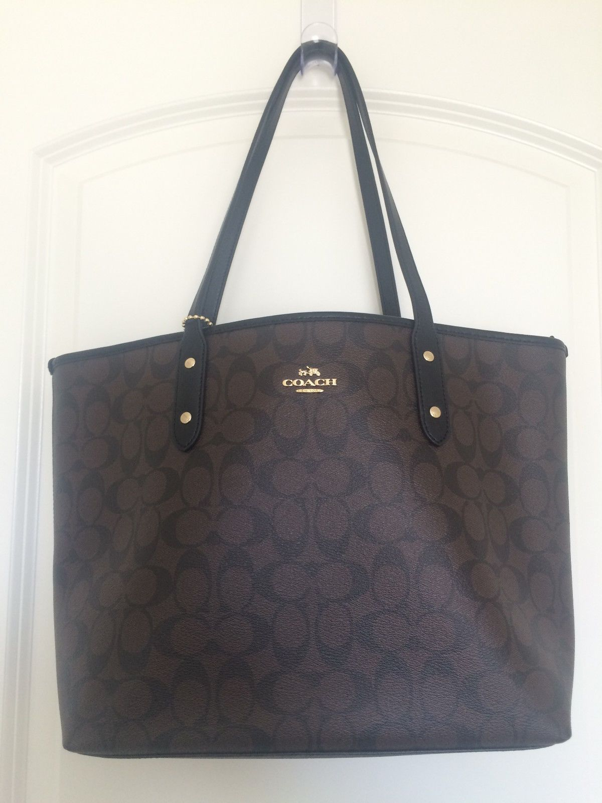... coupon code for auth new coach dark brown black canvas signature city  zip tote bag f58292 ... 0206b56ed22fb