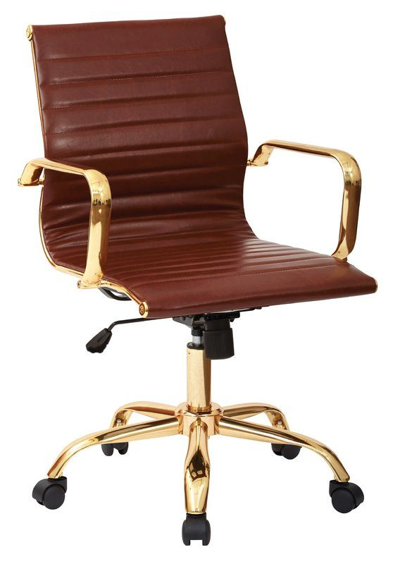 Featuring A Padded Faux Leather Seat And Gold Finished Frame, This Stylish  Chair Lends A Loft Worthy Touch To Your Office Or Study.