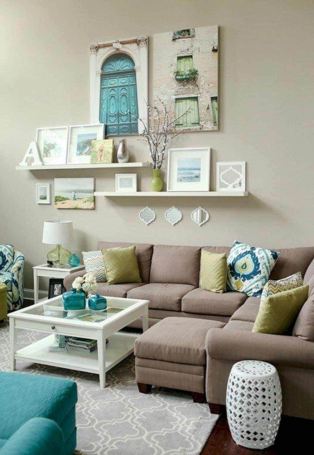 01 rustic living room decor with floating shelves ideas is part of Living Room Shelves Color - 01 rustic living room decor with floating shelves ideas