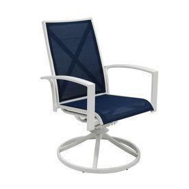 Set Of 2 Ocean Park White Sling Seat Aluminum Swivel Rocker Patio