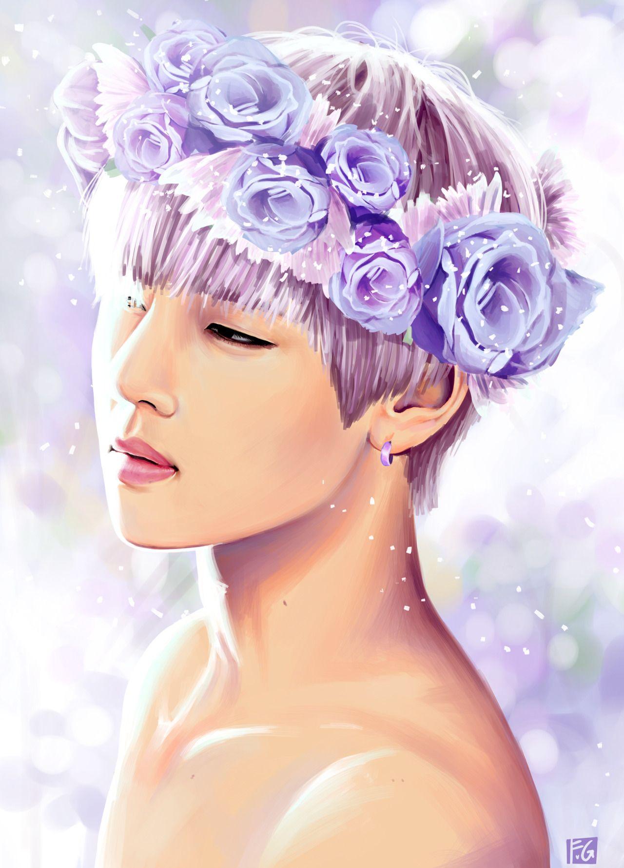 BTS Fan Art : V Taehyung Purple Pink Flowers