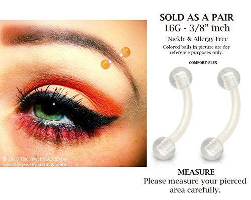 Pair Of 16g 3mm Balls Clear Bioflex Ptfe Flexible Eyebrow Http Www Amazon Com Dp B015vpczce Ref Cm Sw R Pi Dp Tl8uxb0g8bfj2 Piercing Piercing Ceja Cejas