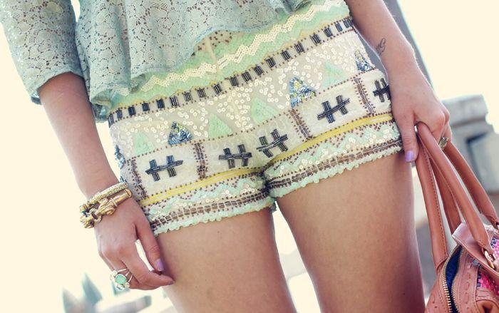 sequin pattern & seafoam lace