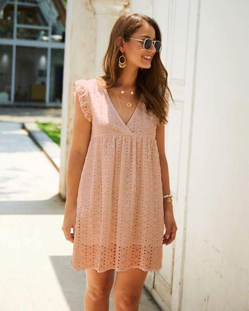 Fashion Casual Loose Hollow Out V Neck Falbala Shift Dresses Summer Fashion Dresses Lace Dress Casual Casual Summer Dresses [ 1000 x 800 Pixel ]