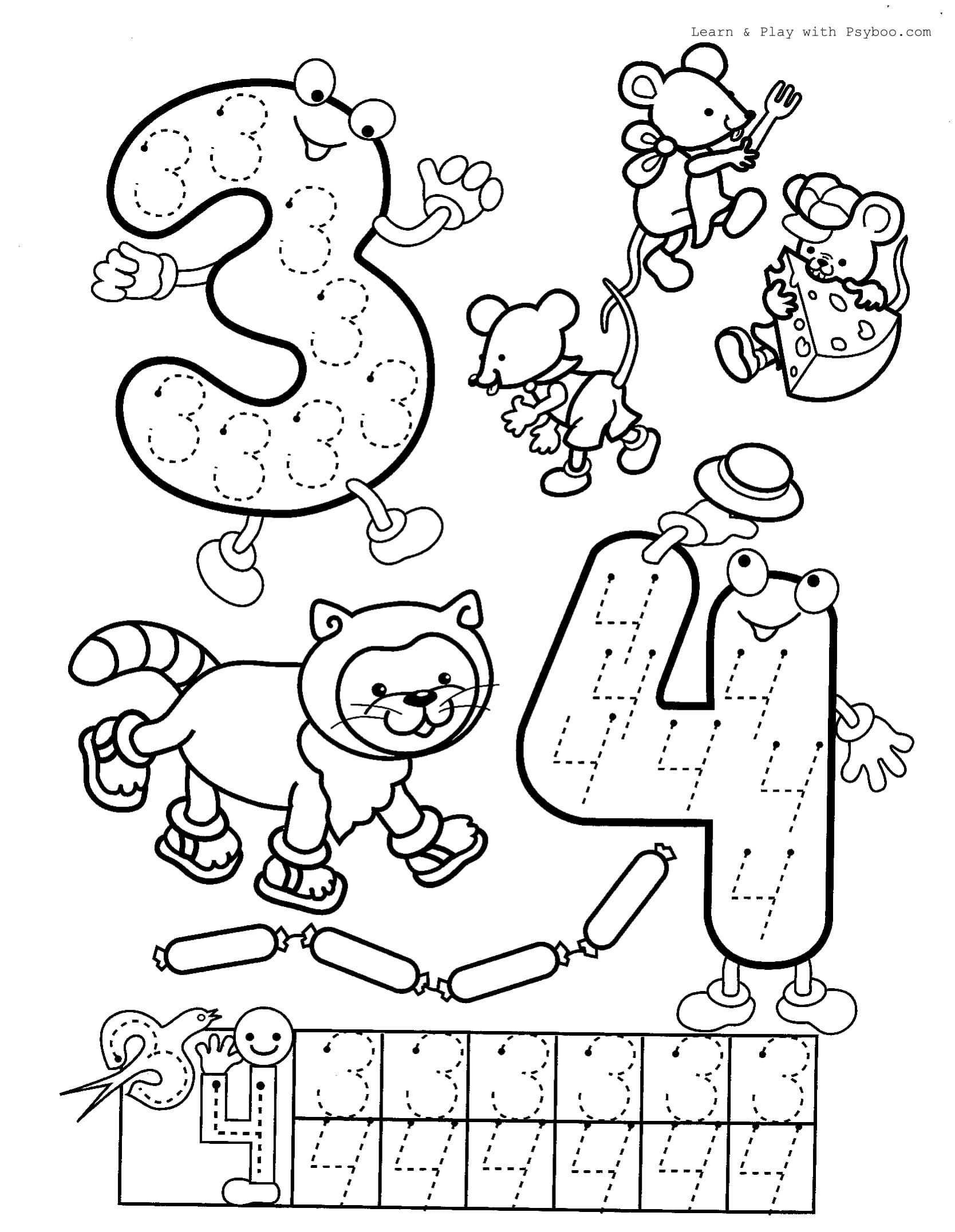 Printable Number 3 4 Coloring Page For Free In