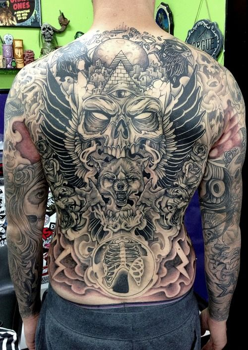 Wolf tattoo full back skull and wolf head back body full for Full head tattoo