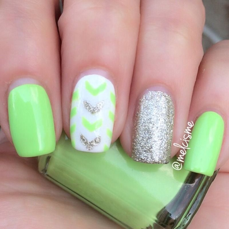Single Chevrons nail art by Melissa | Nails | Pinterest