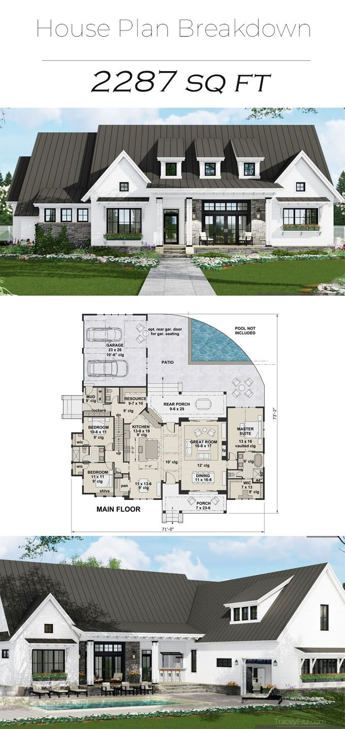 Photo of House Plan Breakdown- 2287 SqFt- by Tracey Fitz