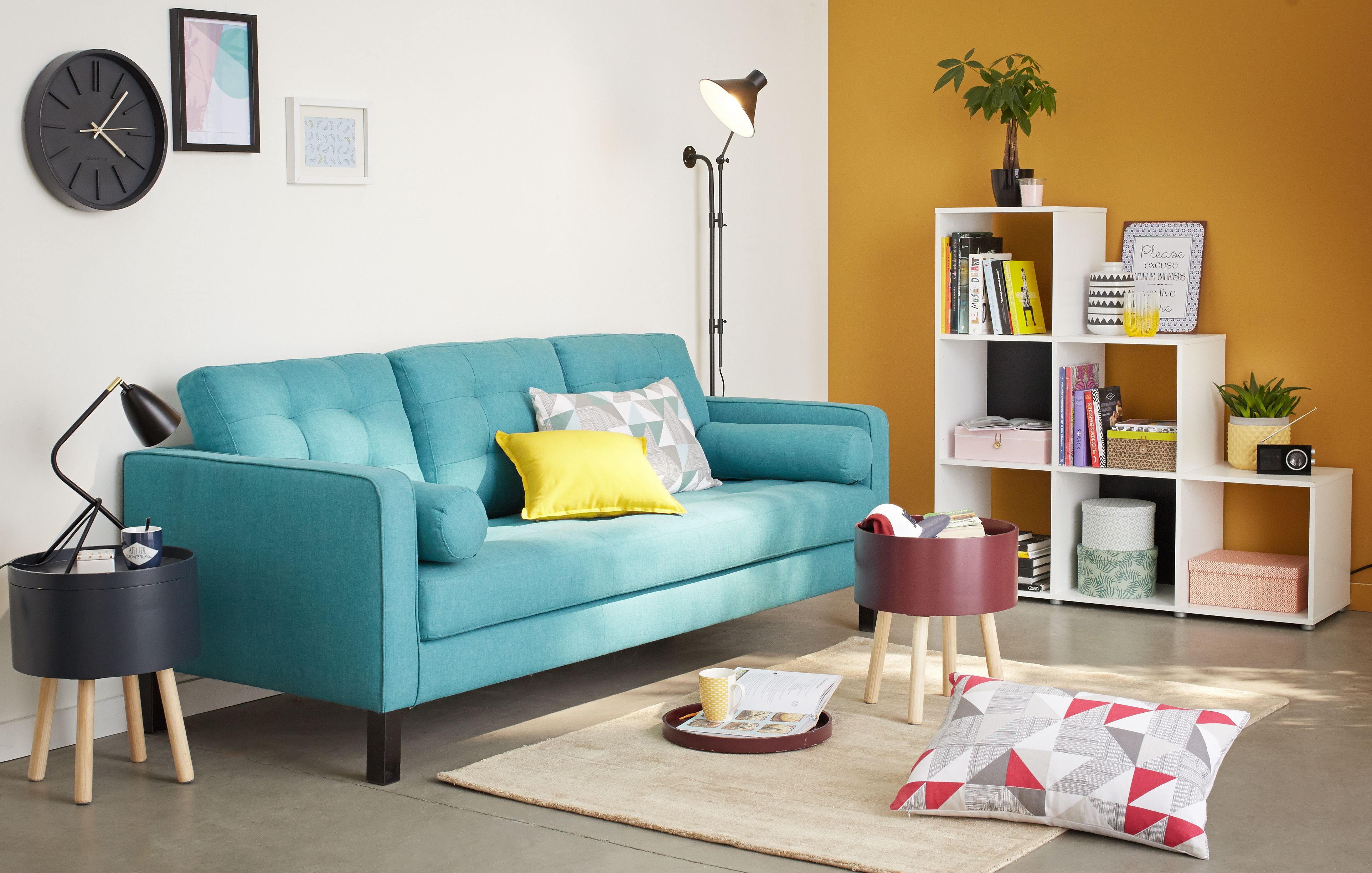 finest canap places fixe revtement tissu turquoise elvis canapes tous les canaps canaps droits. Black Bedroom Furniture Sets. Home Design Ideas