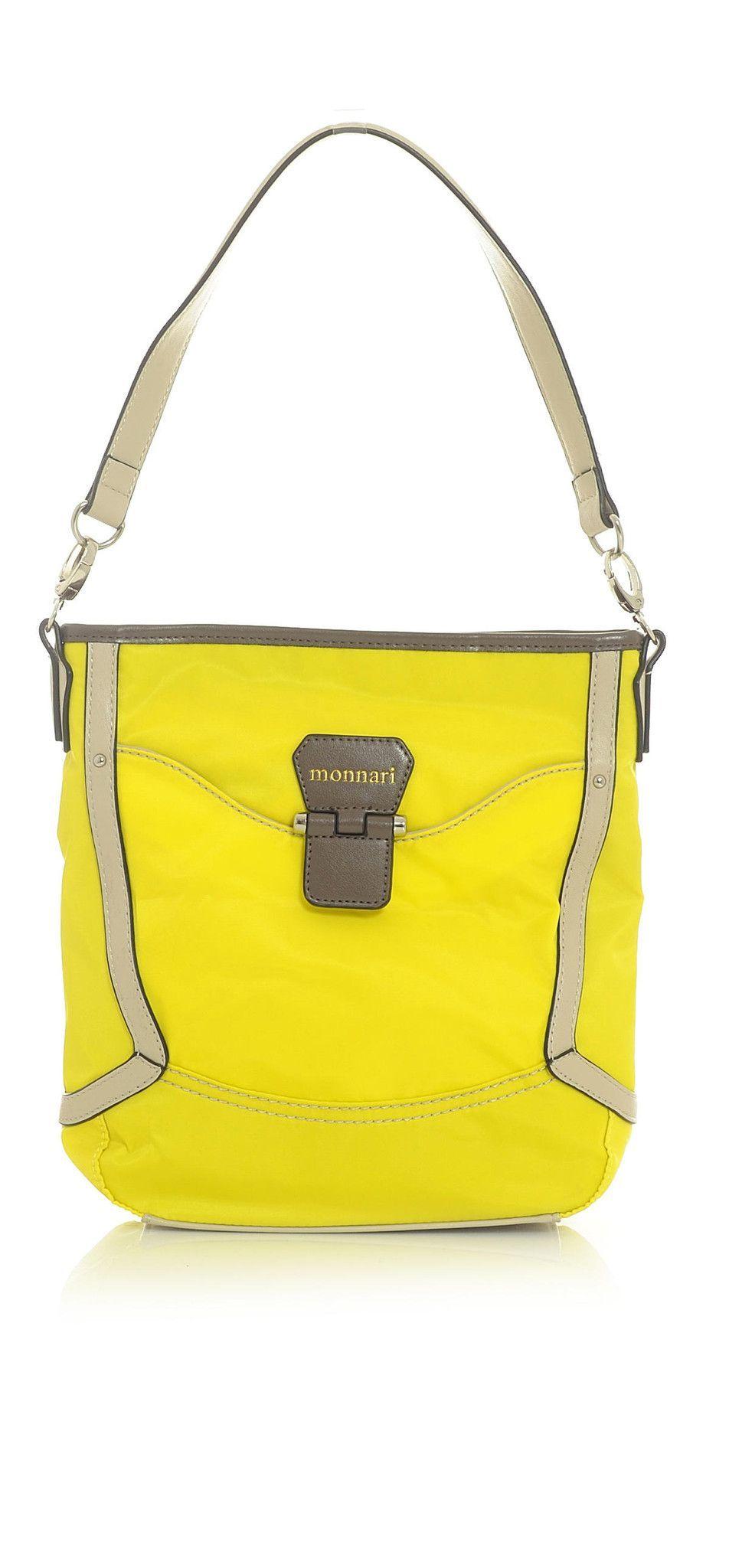 Neon Yellow Tote Handbag with Cream & Taupe Trim