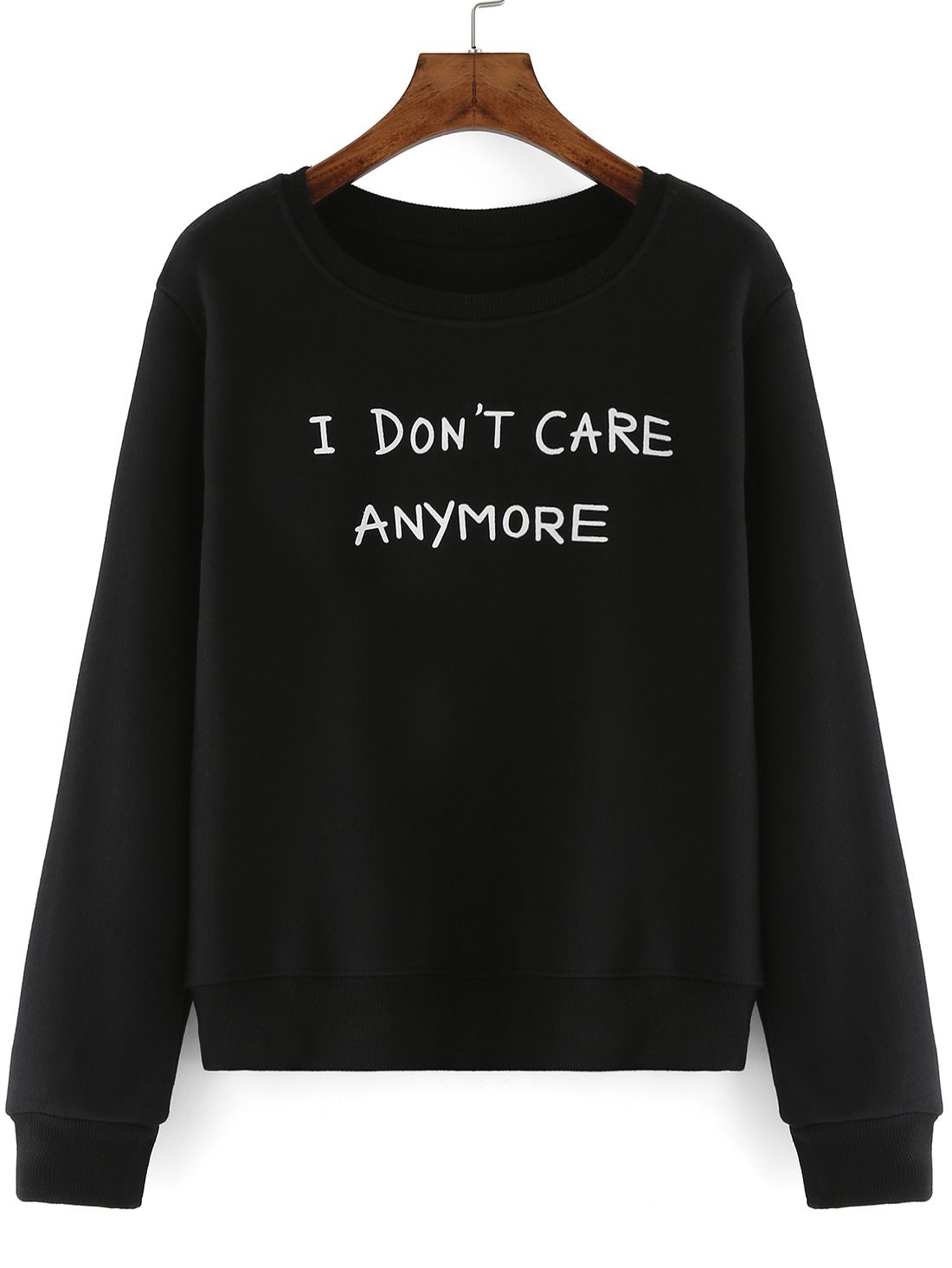 8aae706f5 i don't care anymore ,letter print sweatshirt .Funny printing sweat shirt  for women .This is black pullover one for you.