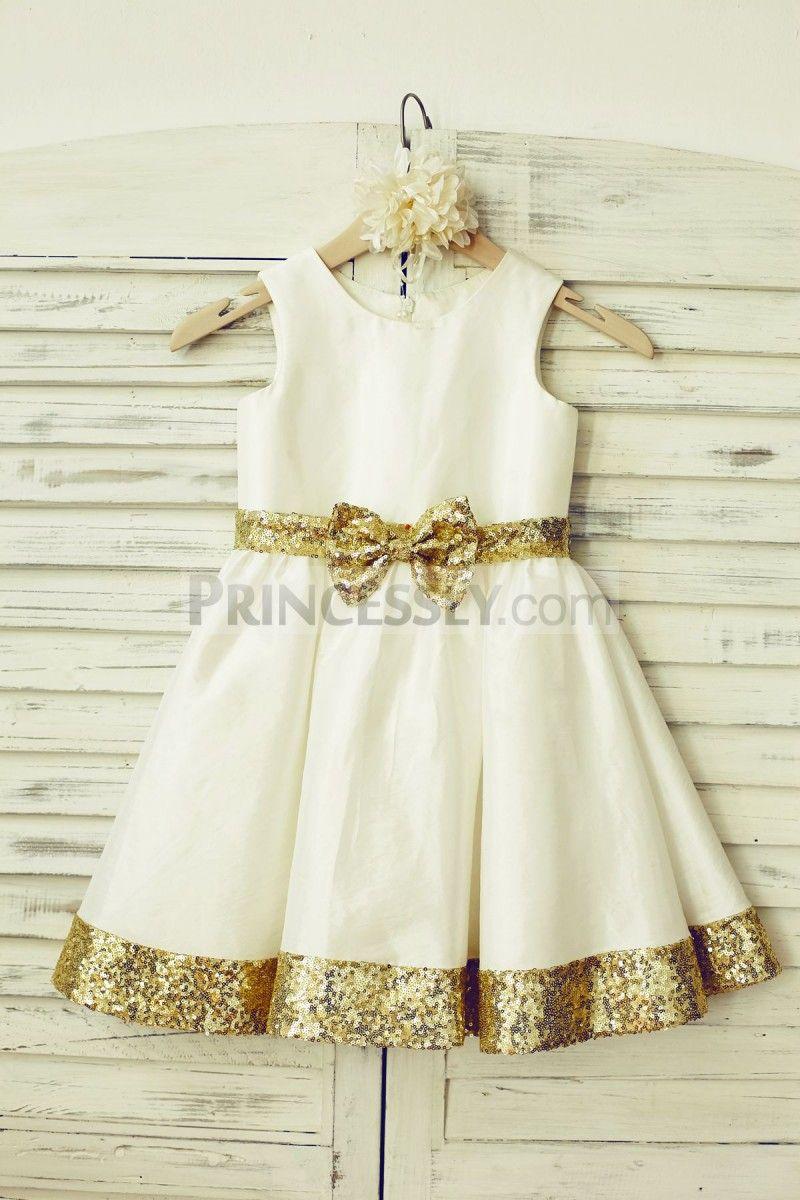 Ivory Taffeta Gold Sequin Flower Girl Dress