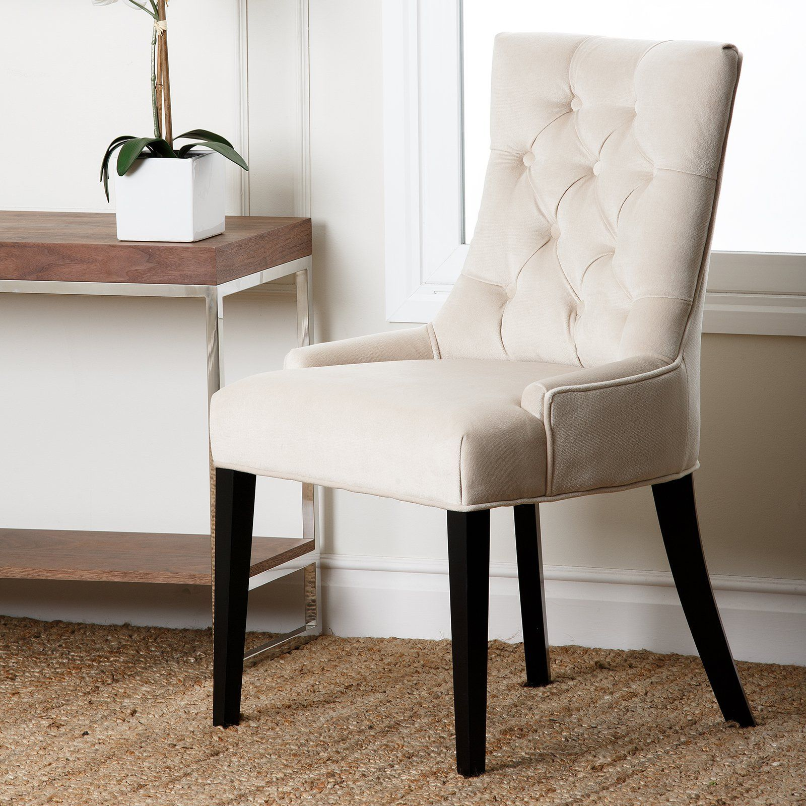 Abbyson Living Maverick Fabric Tufted Dining Chair Cream From