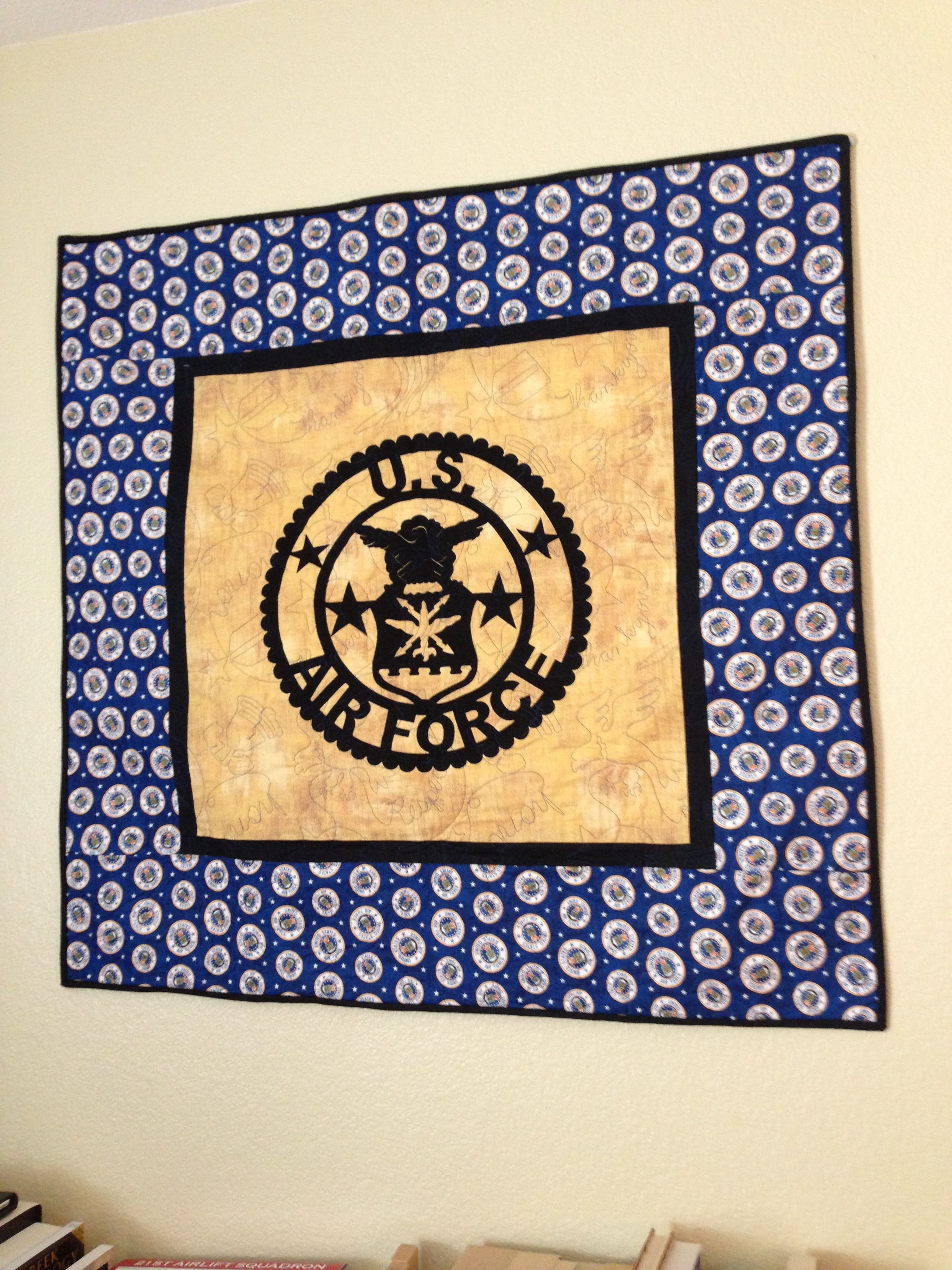 Air Force wall hanging quilt I made! Quilted at A Scarlet Thread in ...
