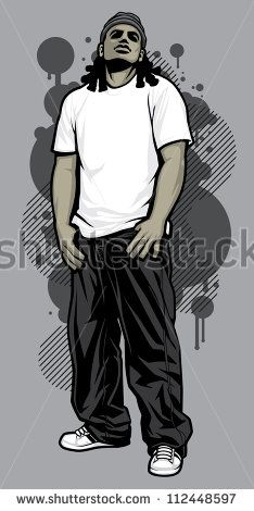 Urban Male Tshirt Model Vector illustration of a young urban male model posing in a white t-shirt, baggy black pants, and white ball cap in front of graffiti design elements in the background - stock vector