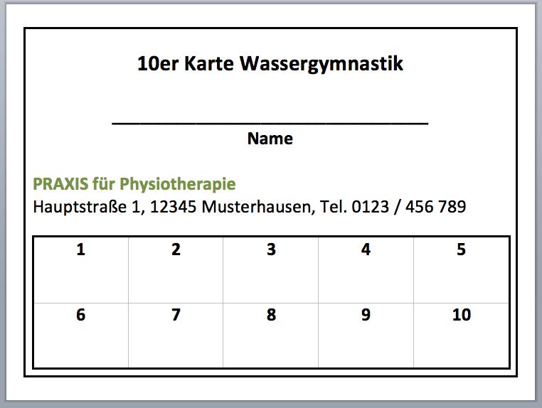 10er Karte Wassergymnastik Kostenlose Vorlage Karten Wassergymnastik Vorlagen