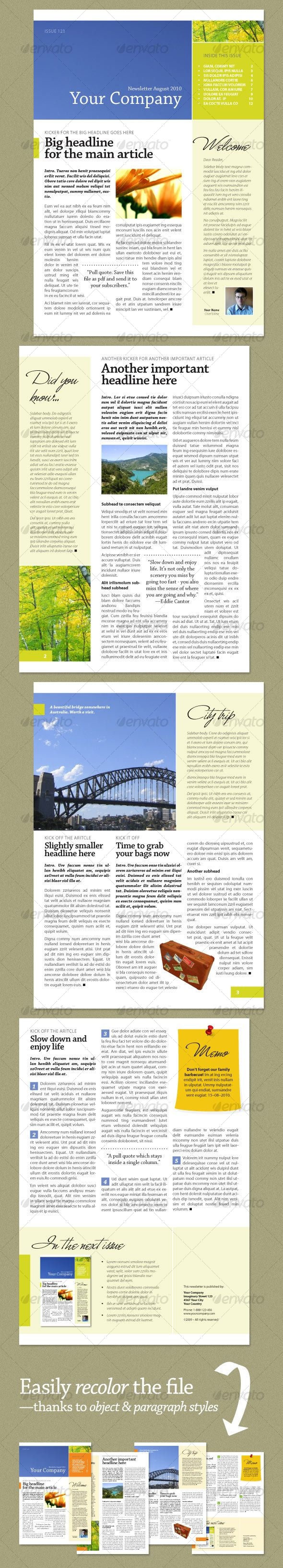 Newsletter Fresh Green 4 Pages Newsletters Print Templates