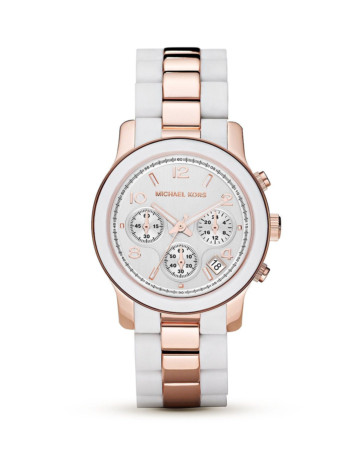 Michael Michael Kors Round White & Rose Gold Tone Watch