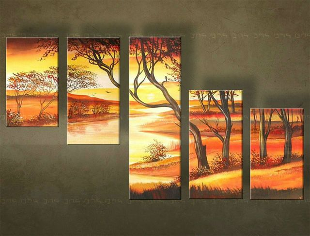 Ručne maľovaný obraz KRAJINA 5 dielny 4041FA