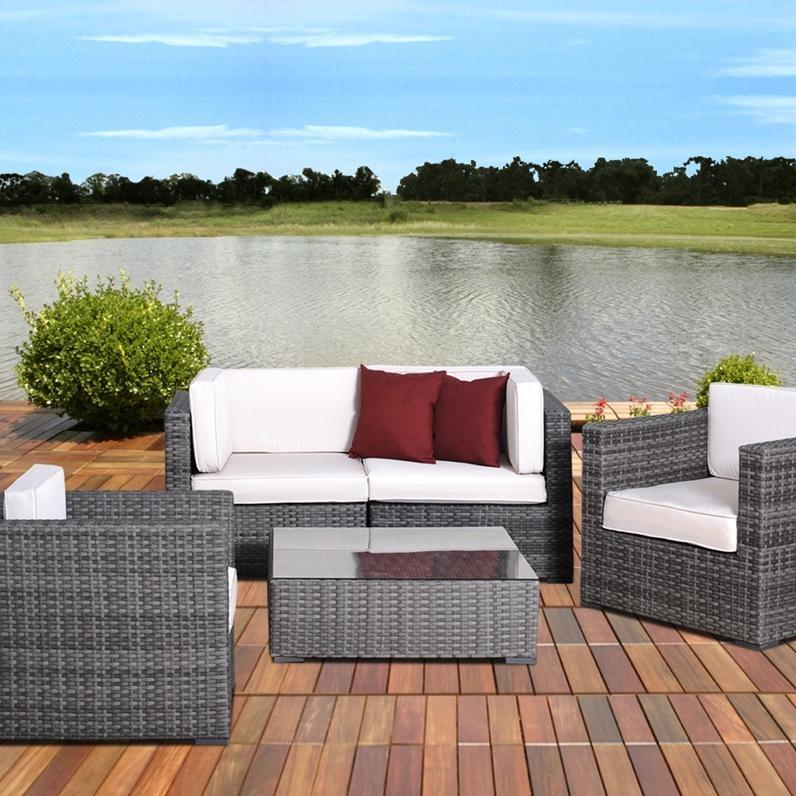 Terrific Atlantic Metz 4 Person Resin Wicker Patio Sectional Set Andrewgaddart Wooden Chair Designs For Living Room Andrewgaddartcom