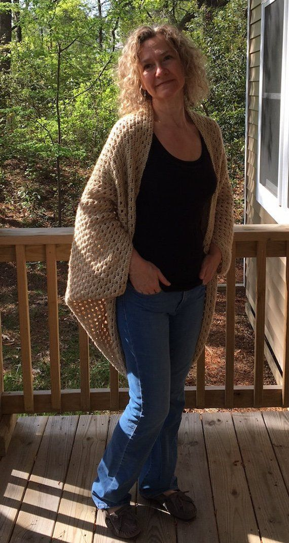 Crochet Sweater Pattern for Women, Granny Square Cardigan, Crochet Blanket Sweater, Easy Crochet Sweater Pattern, Crochet Cocoon Sweater #blanketsweater