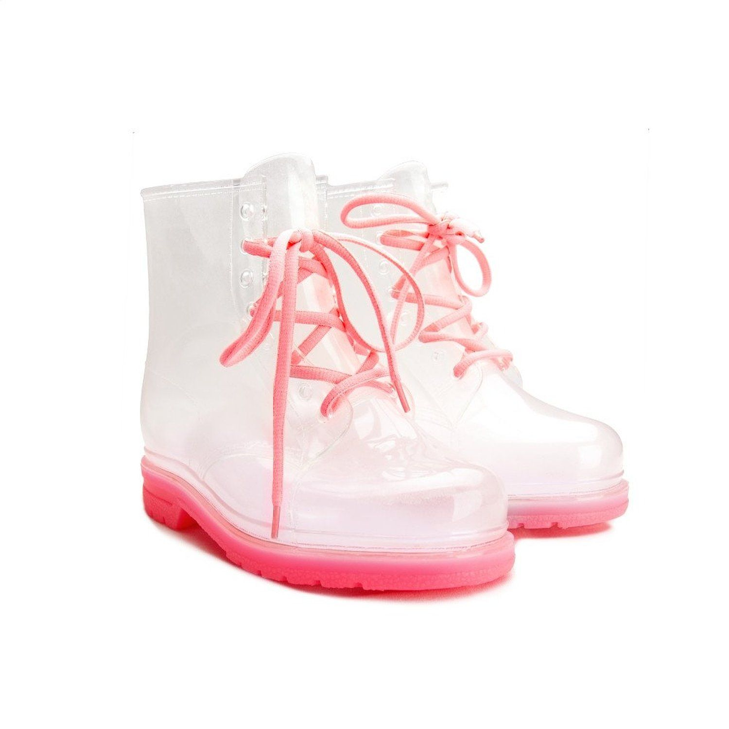 Women's Lace Up Ankle Flat Transparent Clear Jelly Martin Rain Boots (6 Transparent Clear)