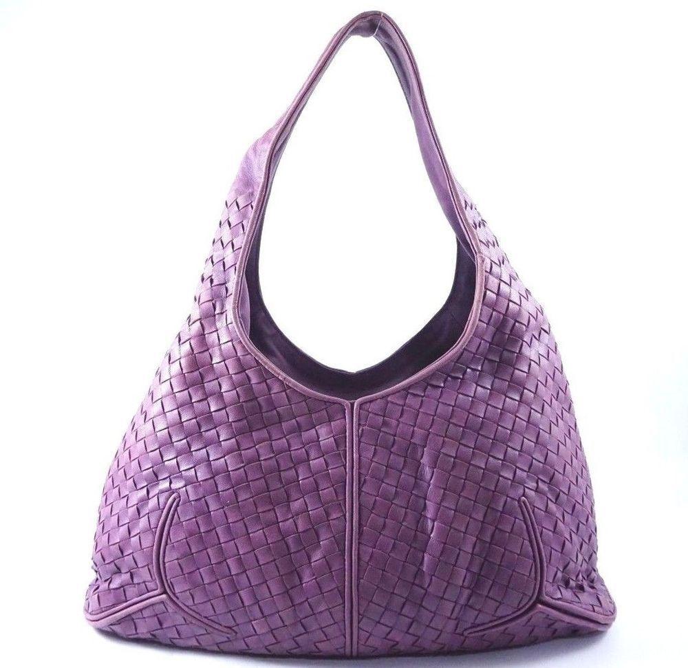 3a30436bb35c Bottega Veneta Italy Purple Leather Bag Authentic