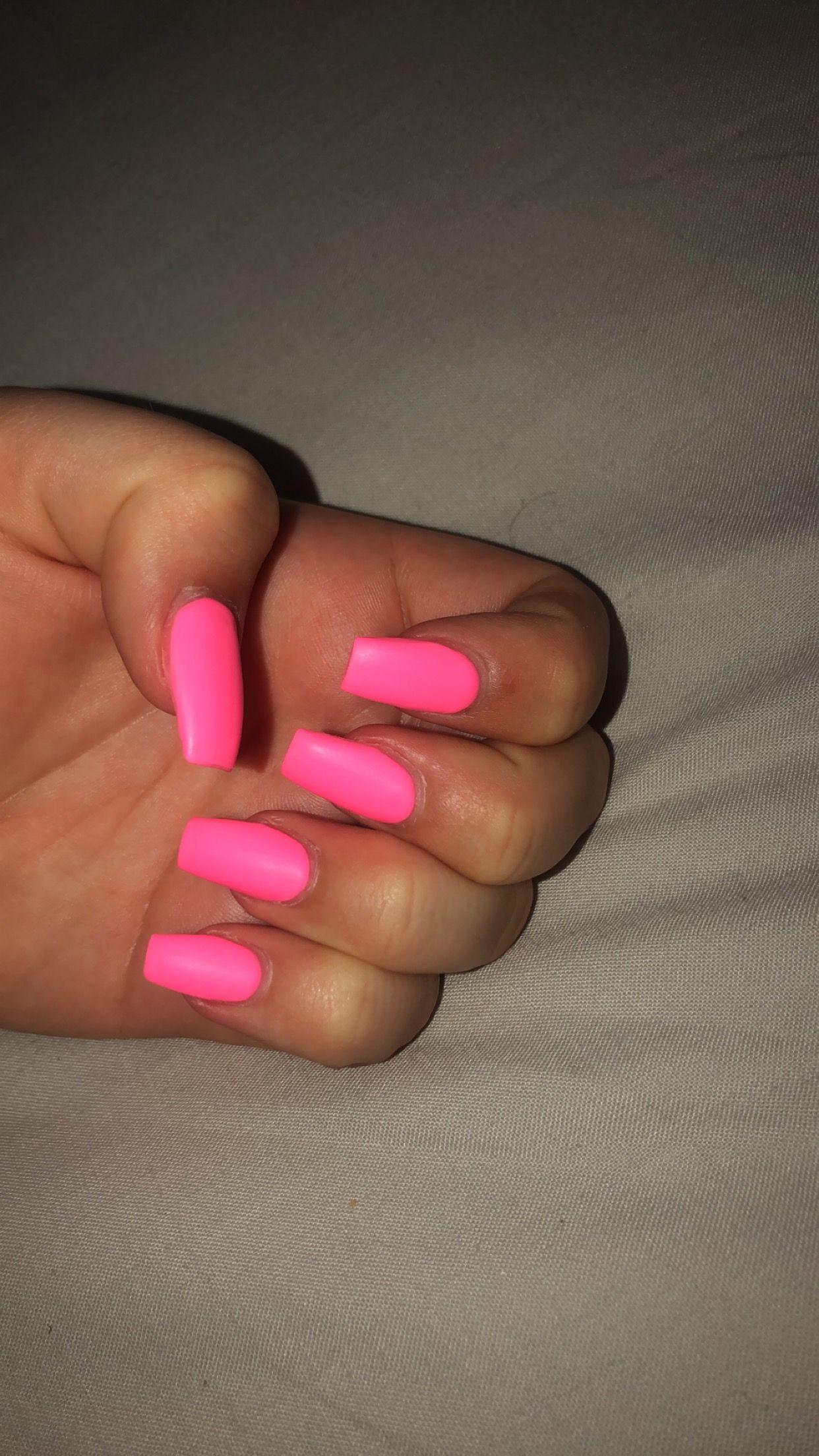 Coffin shaped summer nails. | Pink acrylic nails, Pink ...