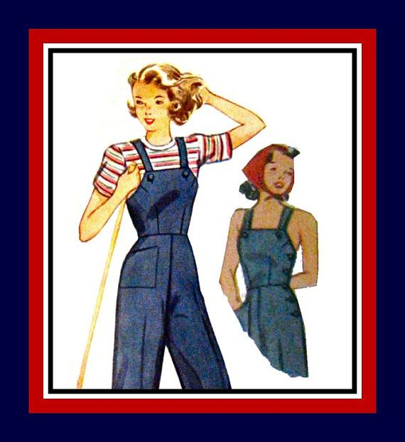 Vintage 1944-LITTLE ROSIE RIVETER Overalls- Jacket --Sewing Pattern- Three Styles- Fitted- Side Buttons- Patch Pockets -Size 10 -Uncut -Rare