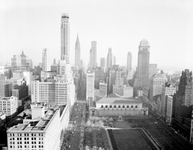 The needle-topped Chrysler Building peeks out of New York City's skyline in 1961.