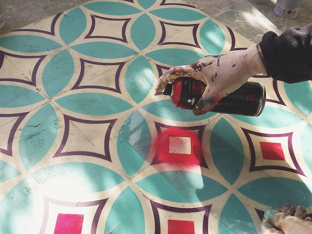 Javier De Riba Spray Paints The Floors