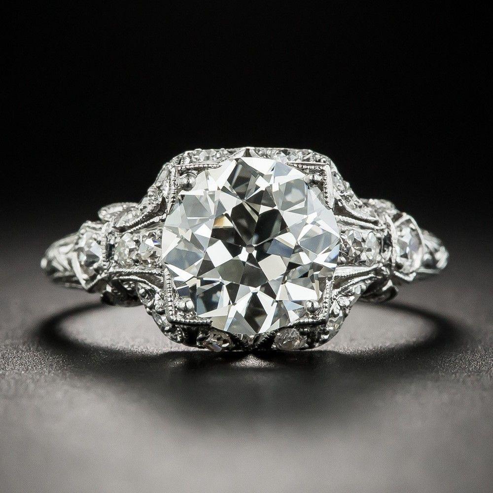 Art Deco 2.46 Carat Diamond Platinum Engagement Ring GIA