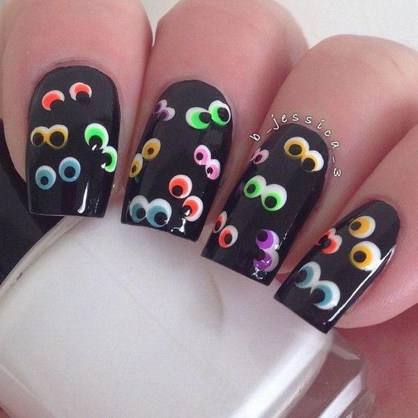 Black Halloween Nail Art with Colorful Eyes Designs. - 40+ Cute And Spooky Halloween Nail Art Designs Eye, Black And
