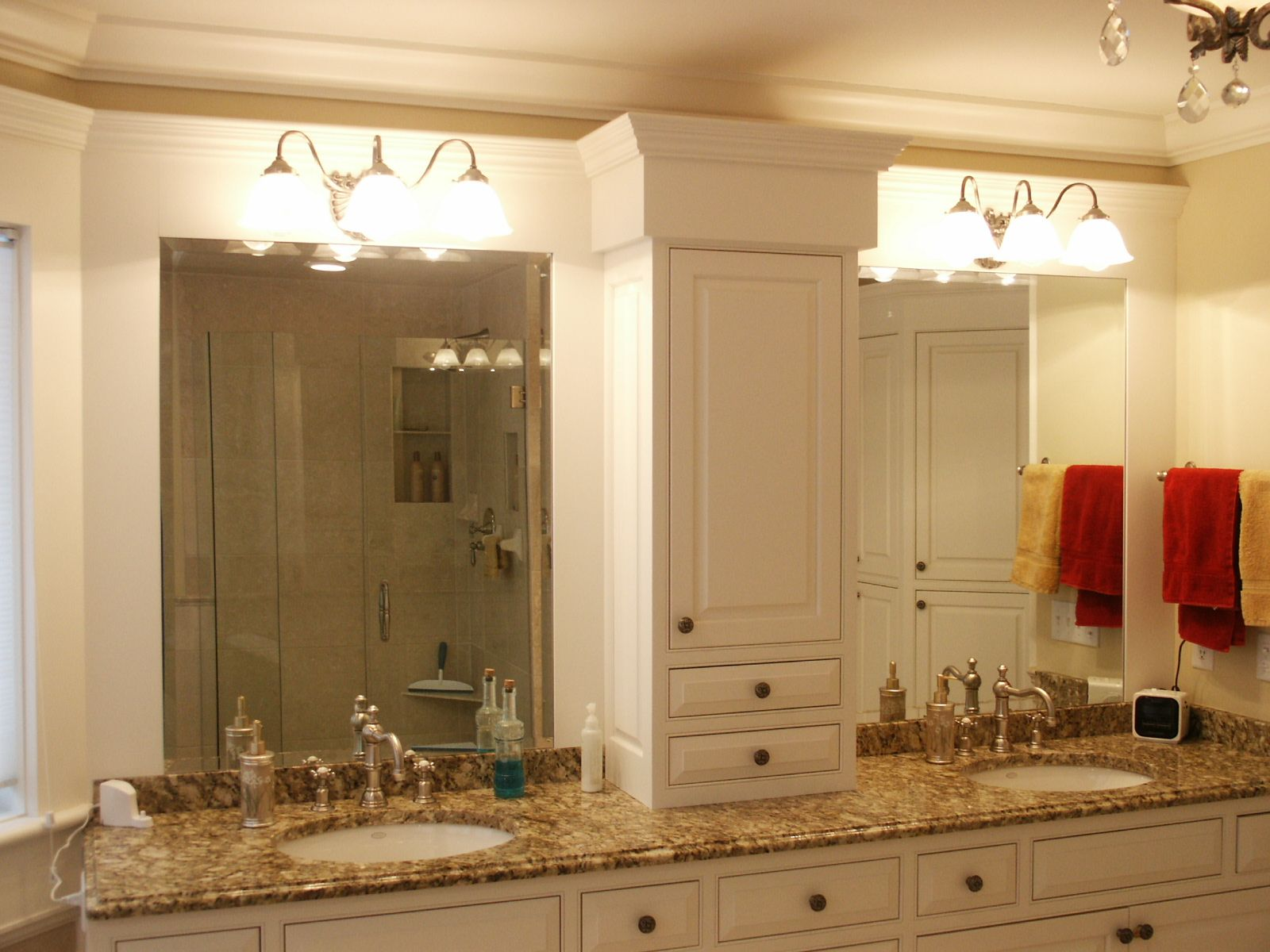 Master Bathroom Cabinet Ideas With luxury bathroom with double vanity  mirrors ideas with granite countertop and white washbasin with sink and big  glorious ...