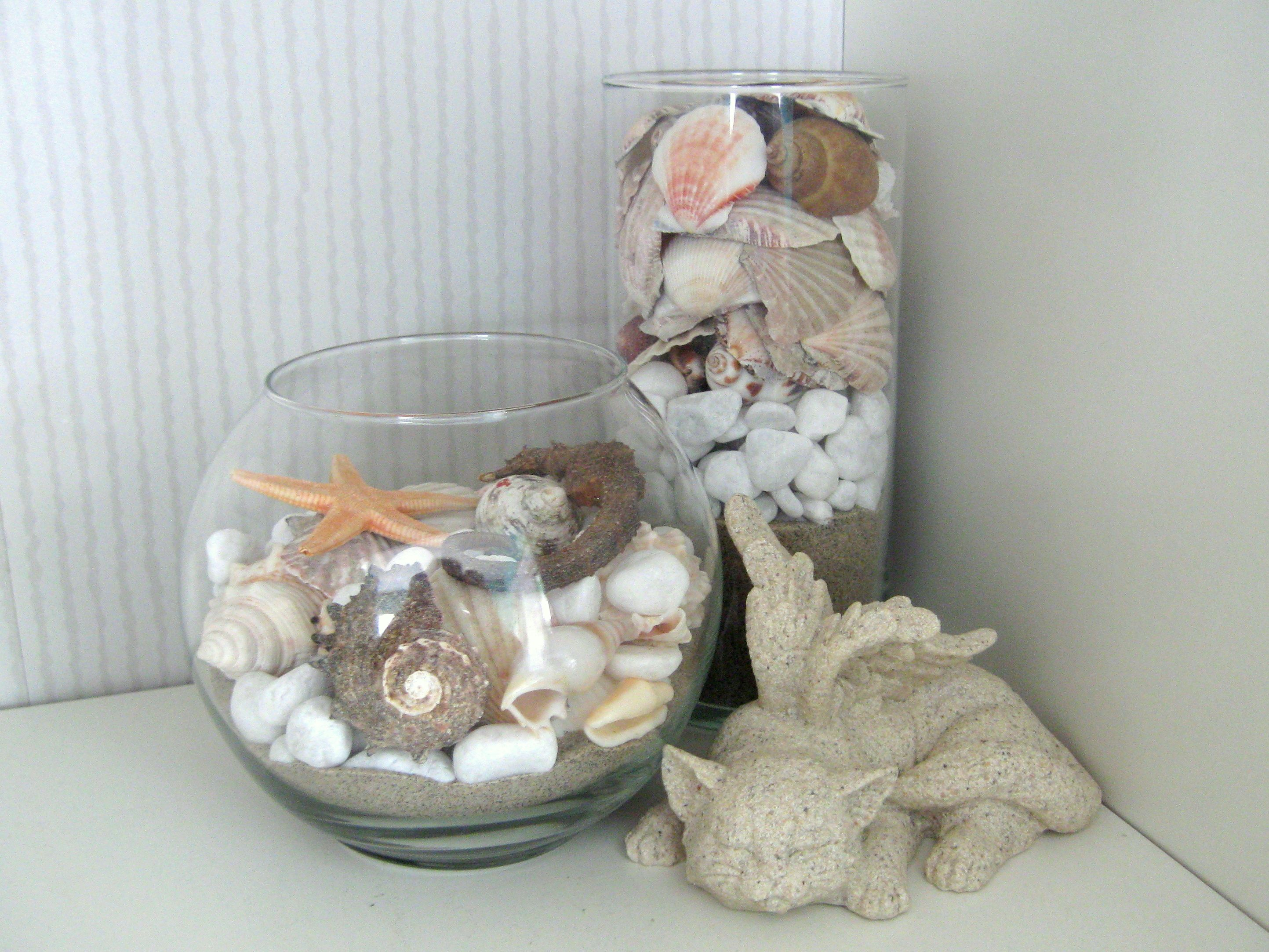 Diy decor for our beach home glass bowl vase and shells